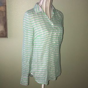 J Crew striped semi sheer popover tunic top silk